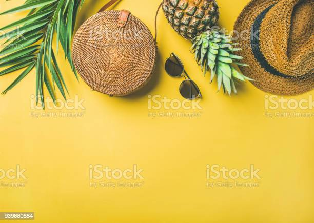 Colorful Summer Female Fashion Outfit Over Yellow Background Stock Photo - Download Image Now