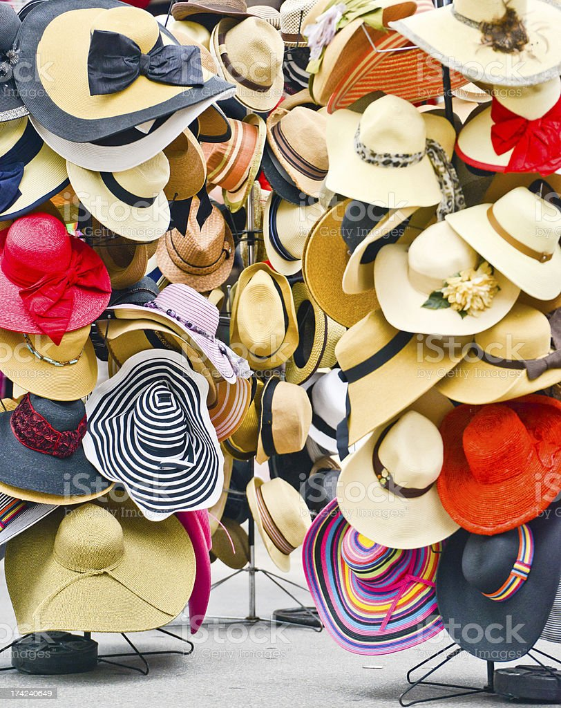 Colorful Summer hats on sale royalty-free stock photo
