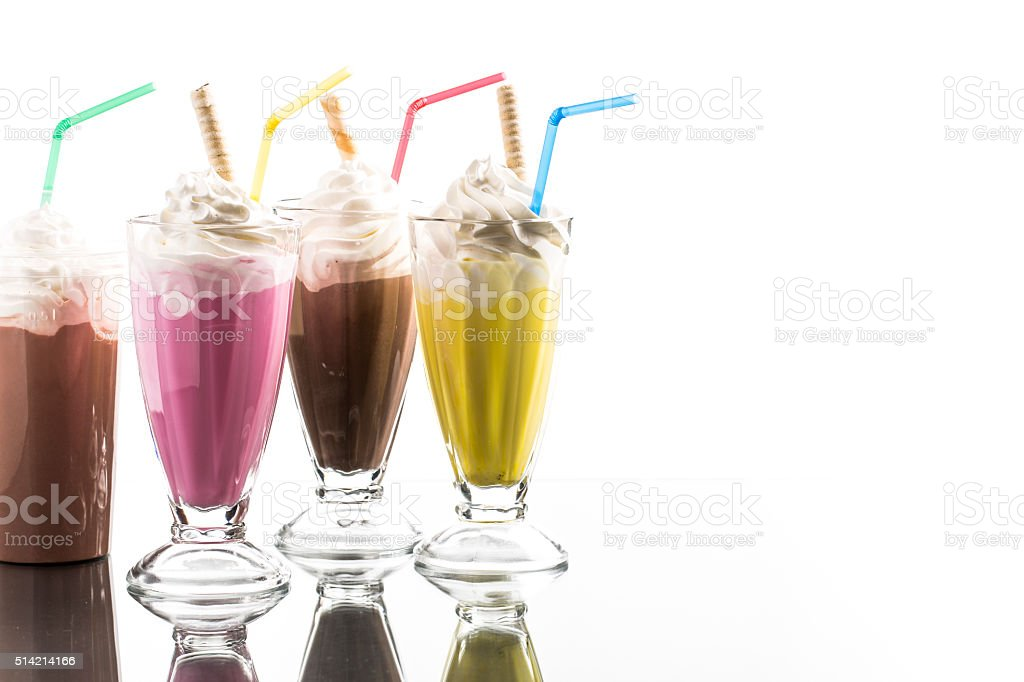 colorful summer milkshake with take away cup wit reflection stock photo