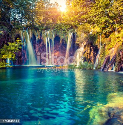 Colorful summer morning in the Plitvice Lakes National Park. Croatia. Europe. Lomography stylization and instagram toning effect.