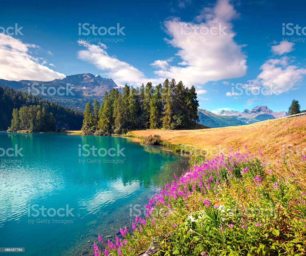 Colorful summer morning on the Champferersee lake stock photo