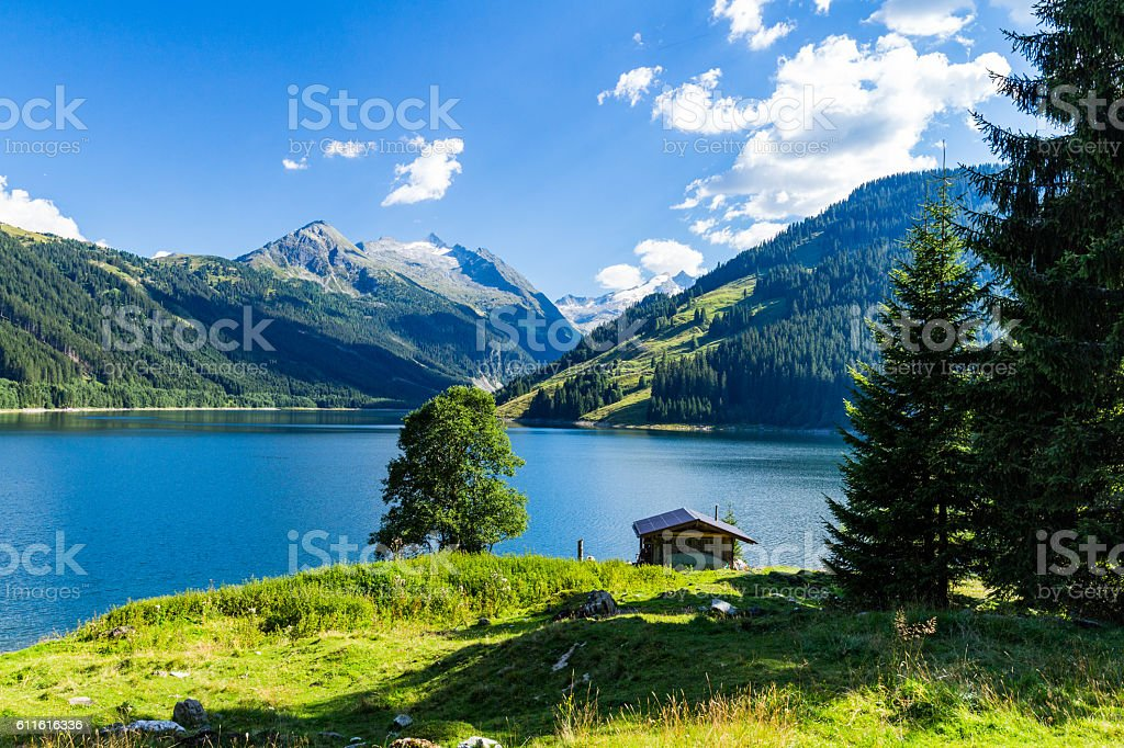 Colorful summer morning on the Speicher Durlassboden lake. stock photo