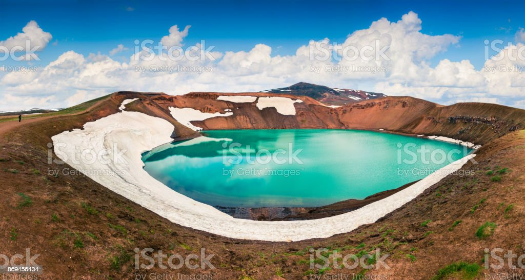 Colorful summer panorama of crater pool of Krafla volcano stock photo