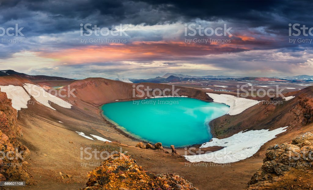 Colorful summer scene with crater pool of Krafla volcano stock photo