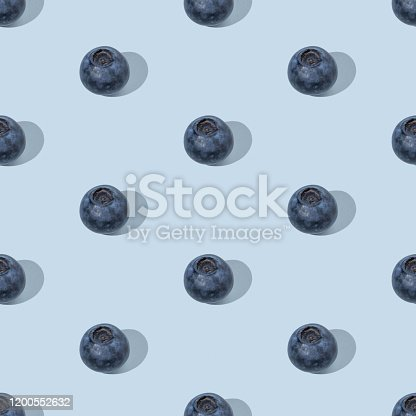 Colorful summer seamless pattern made of blueberries on blue background