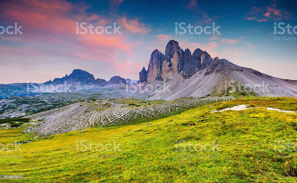Colorful summer sunrise in Italy Alps stock photo