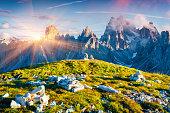 Colorful summer sunrise of the Cadini di Misurina range in National Park Tre Cime di Lavaredo. Dolomites, South Tyrol. Location Auronzo, Italy, Europe.