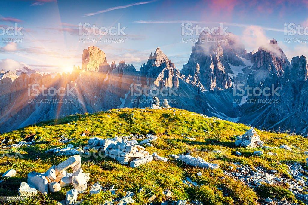Colorful summer sunrise of the Cadini di Misurina range stock photo