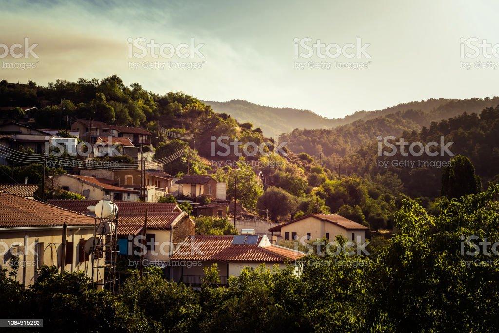Colorful summer sunset at Kaliana village. Nicosia District, Cyprus stock photo