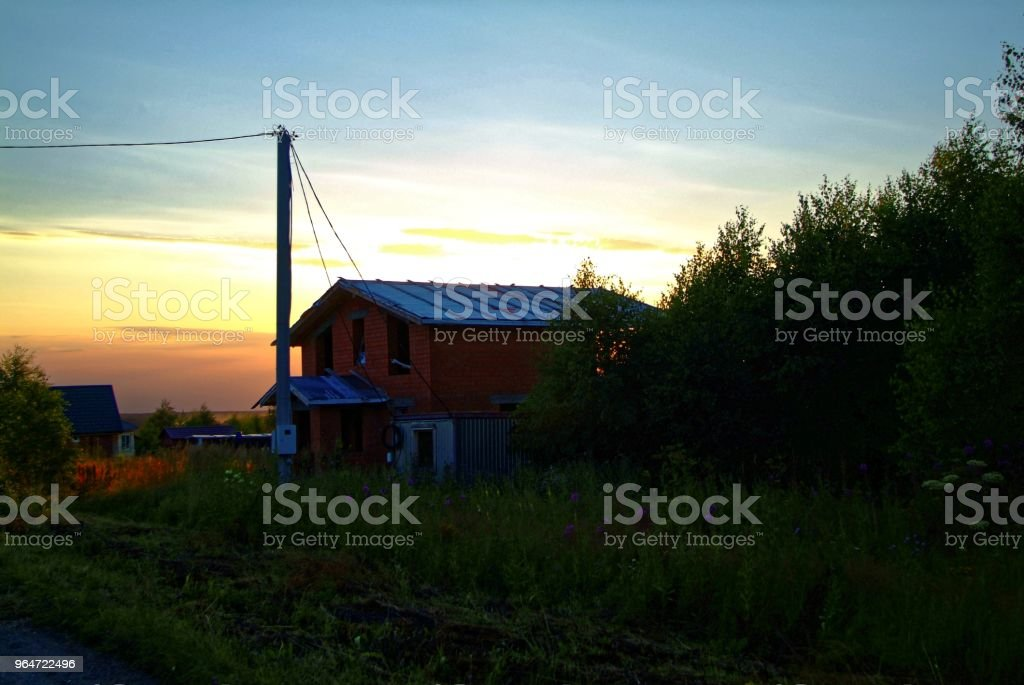 colorful summer sunset from the countryside royalty-free stock photo
