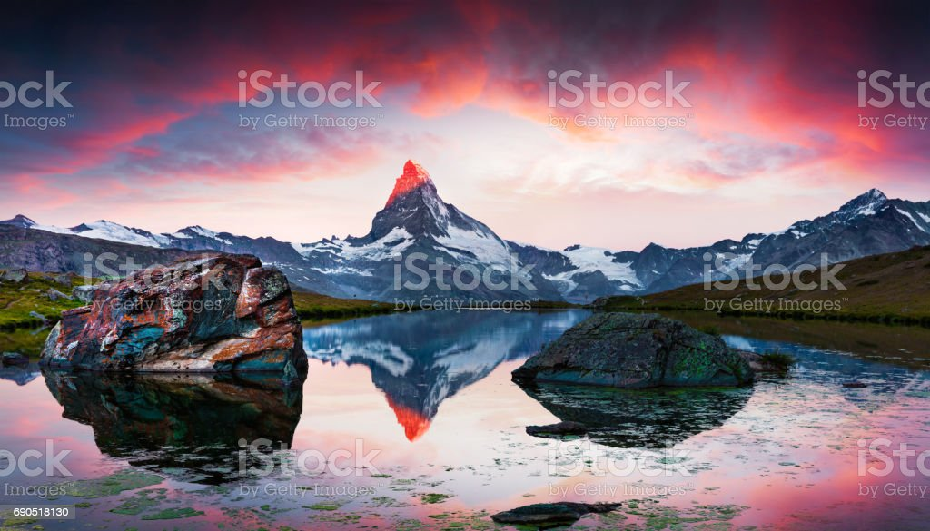 Colorful summer sunset on the Stellisee. stock photo