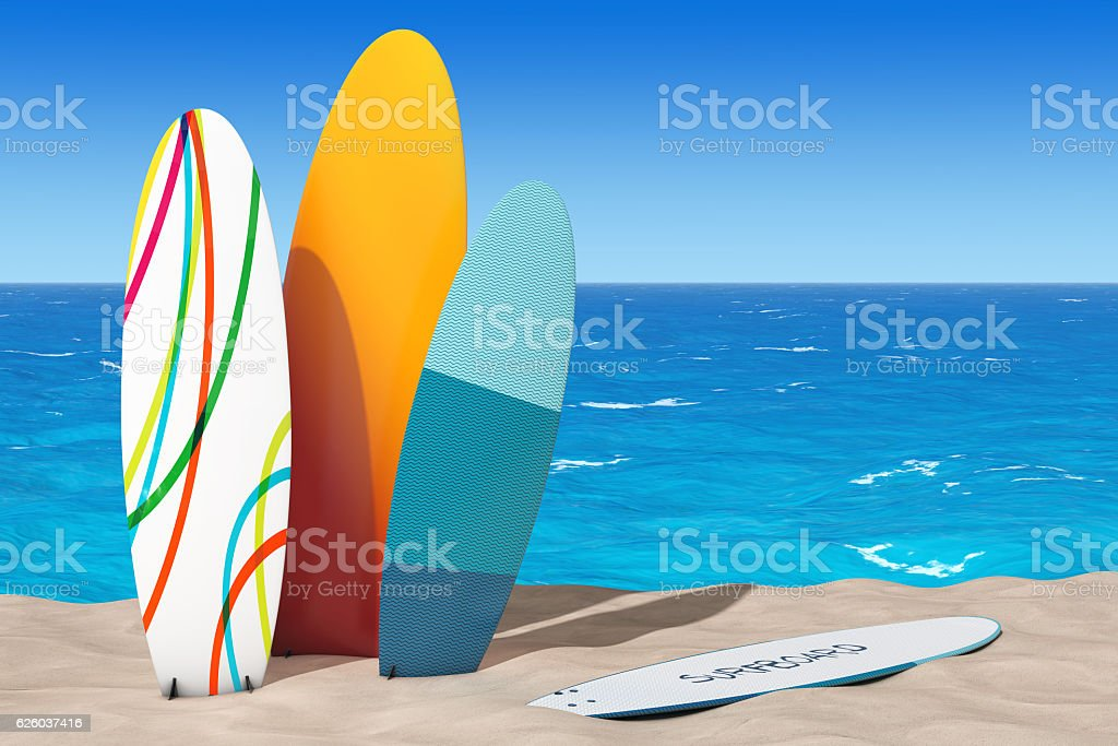Colorful Summer Surfboards on the Sand Sunny Beach. 3d Rendering stock photo