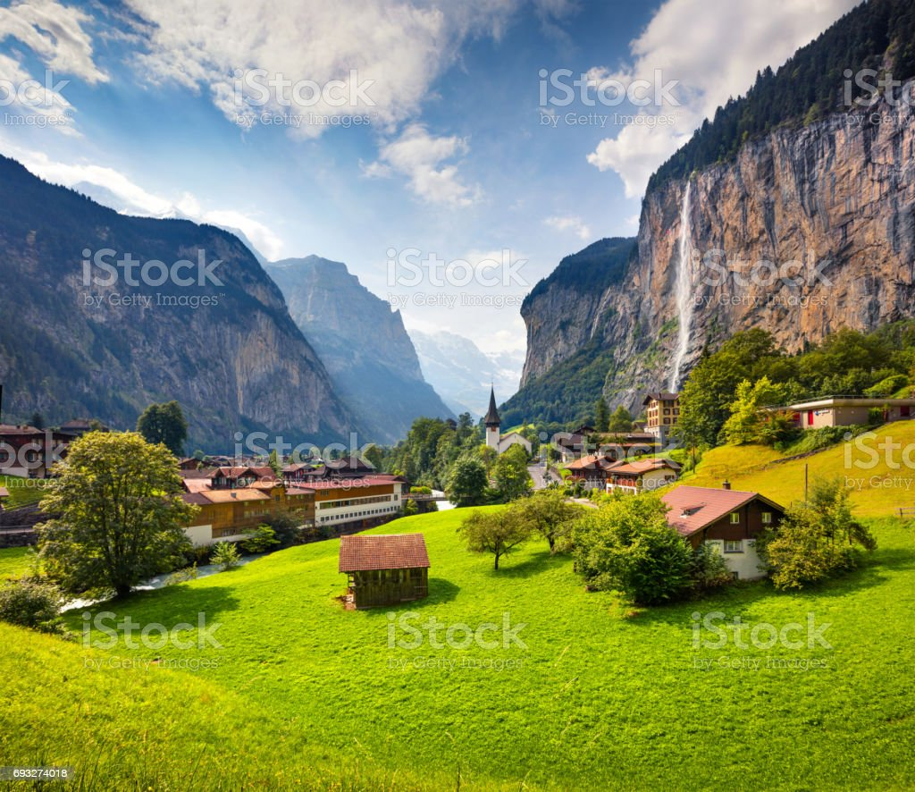 Colorful summer view of Lauterbrunnen village. stock photo