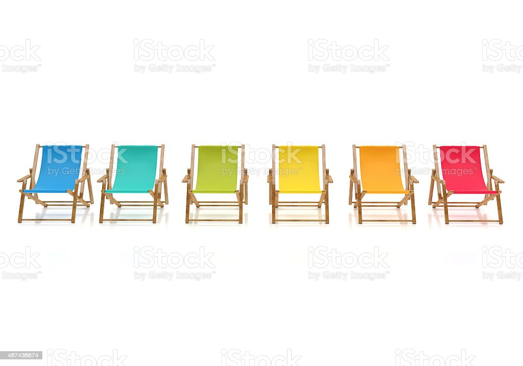 colorful sun chairs isolated on white background stock photo