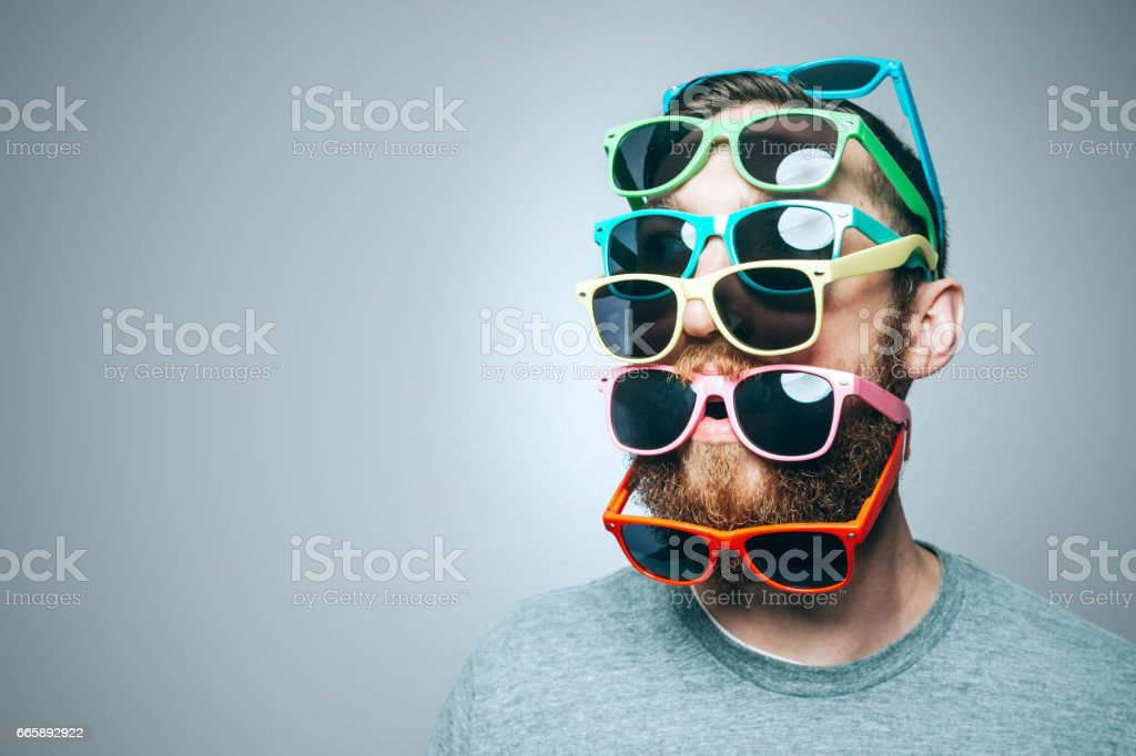 Colorful Sunglasses Portrait stock photo