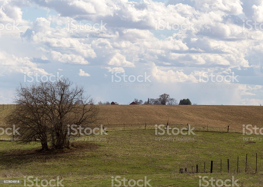 Colorful Sunlit Country Landscape stock photo