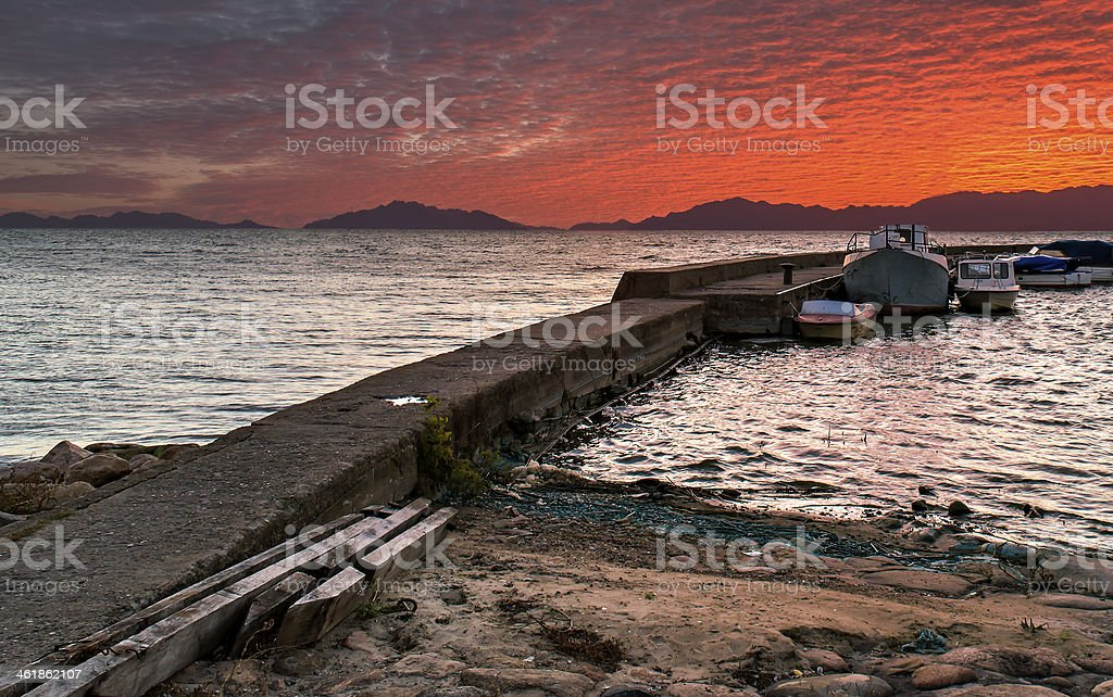 Colorful sunrise at a tropical sea royalty-free stock photo