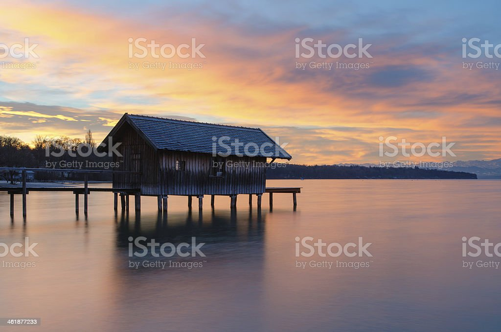 Colorful Sunrise at Lake Ammersee stock photo