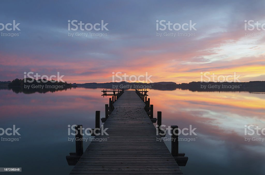 Colorful Sunrise at Lake Wörthsee stock photo