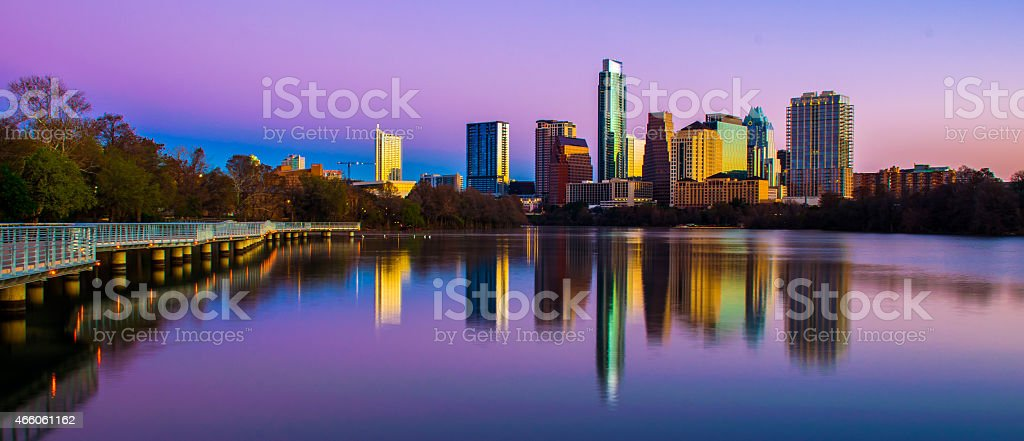Colorful Sunrise Austin Rainbows of color over Capital City stock photo