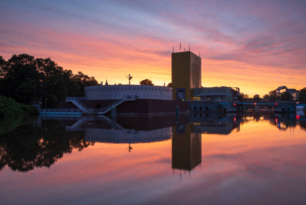 Colorful sunrise in Groningen stock photo