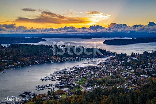 An aerial view of Gig Harbor and Tacoma Washington at sunrise