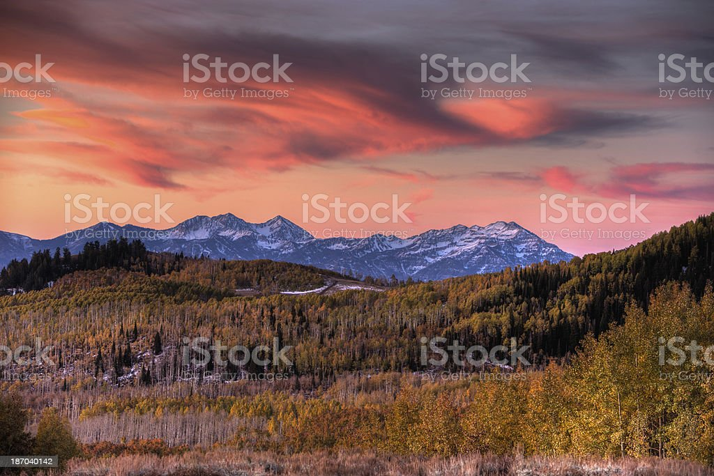 Colorful Sunrise over Heber Valley and the Wasatch Mountains stock photo
