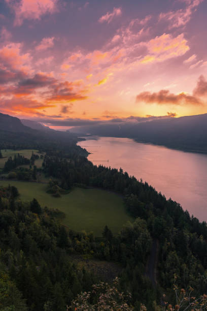 Colorful sunrise over the Columbia River Gorge, Pacific Northwest United States stock photo