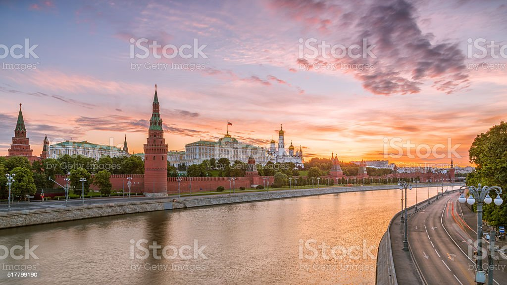 Colorful sunrise over the Moscow Kremlin stock photo