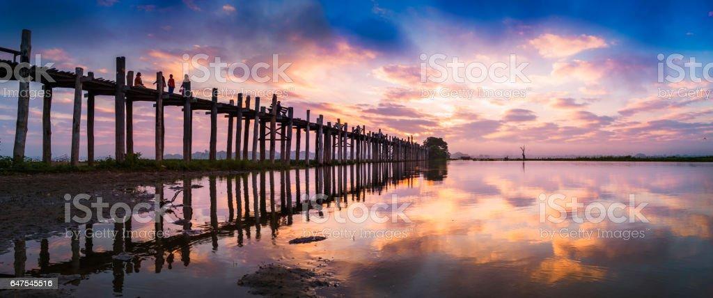 Colorful Sunrise sky at U Bein bridge stock photo