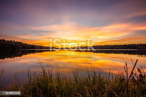 A Sunset At Davis Lake.  At the mile post 243 exit on the Natchez Trace and about 4 miles you'll meet this 200 acre lake in Houston Mississippi. Lots of fishing and camping here and a great setting for dramatic sunsets.