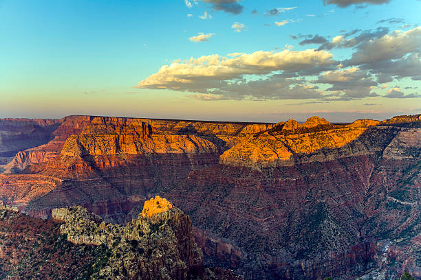 colorful Sunset at Grand Canyon seen from Mathers Point stock photo