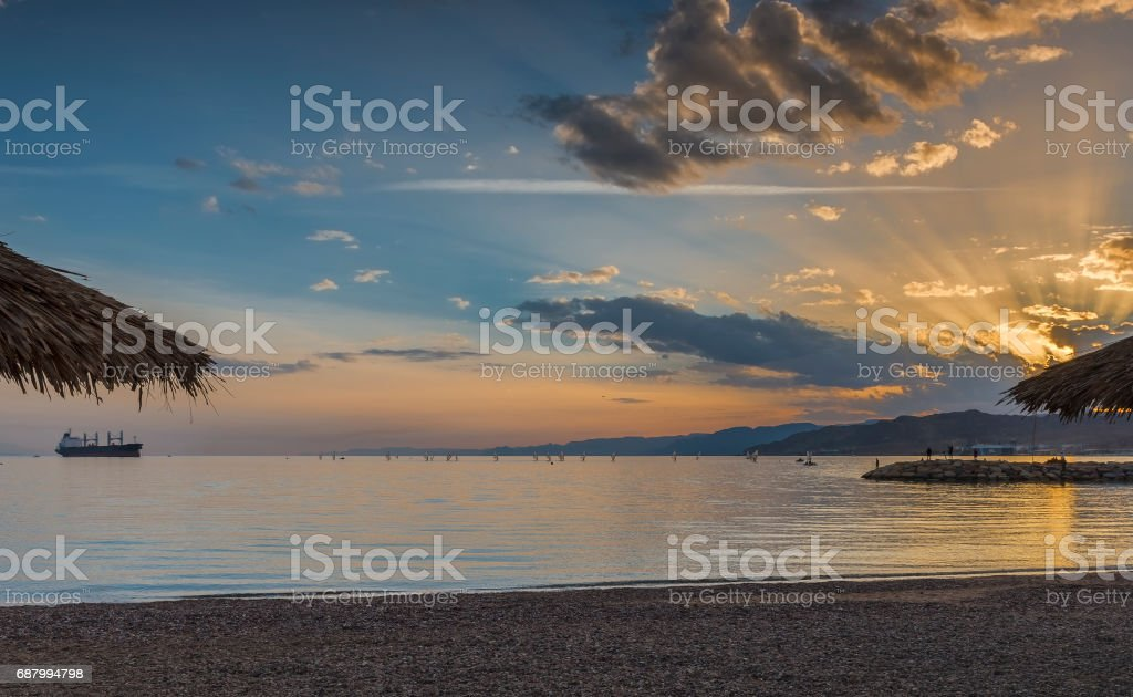 Colorful sunset at the Red Sea, Eilat, Israel stock photo