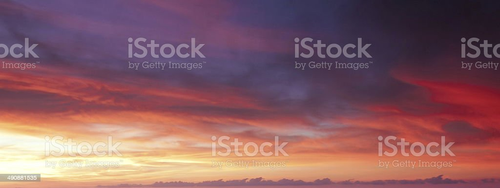 Colorful sunset clouds stock photo