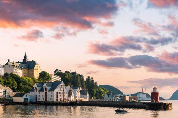 Colorful sunset in Alesund port town stock photo