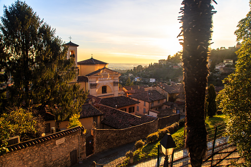 colorful sunset in Bergamo