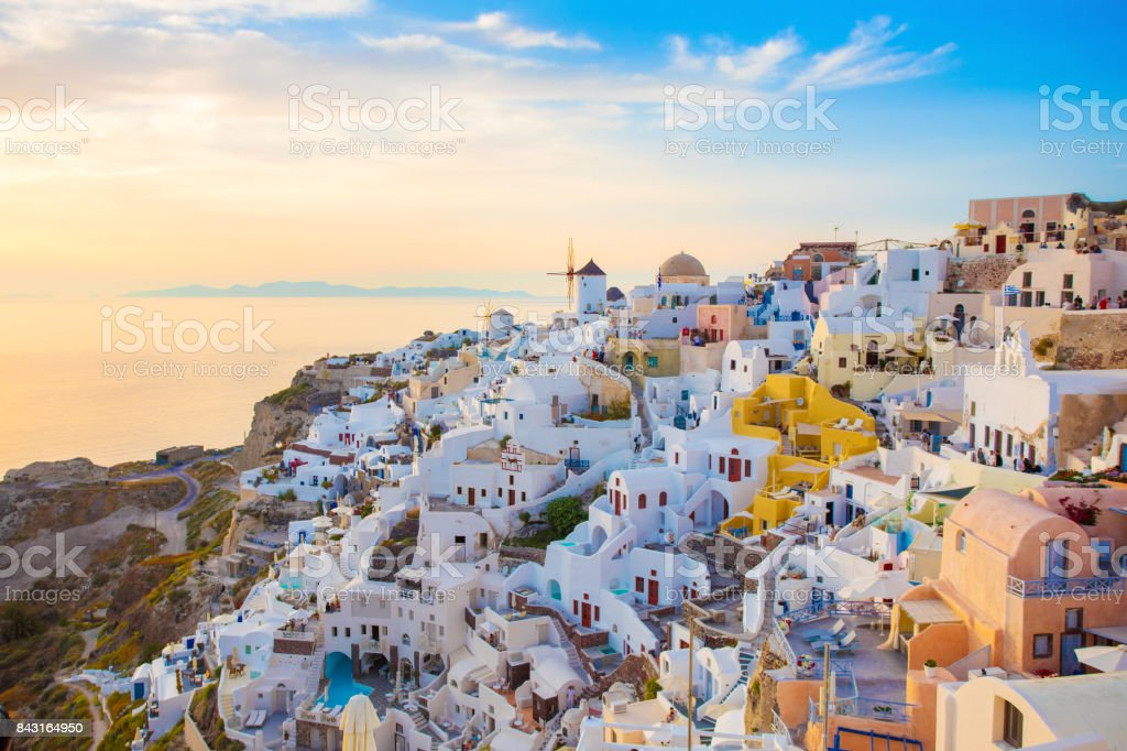 Colorful sunset in Santorini island, Greece stock photo