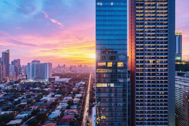 Colorful Sunset Makati Skyscraper Metro Manila Philippines stock photo