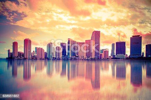 istock Colorful Sunset Miami Skyline 638951652