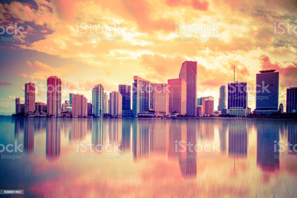 Colorful Sunset Miami Skyline stock photo