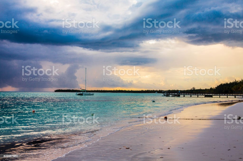 Colorful sunset on the beach in Barcelo hotel, Punta Cana, 02.05.13 stock photo