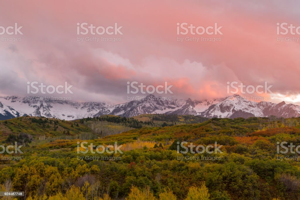 Colorful Sunset on the Dallas Divide during the Fall season outside of Ridgway Colorado stock photo