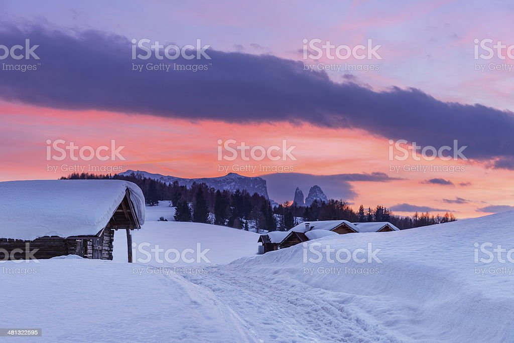 Colorful sunset over a small mountain village stock photo