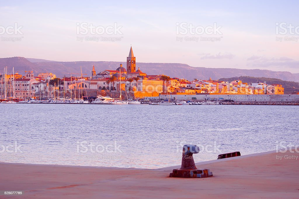 colorful sunset over Alghero stock photo