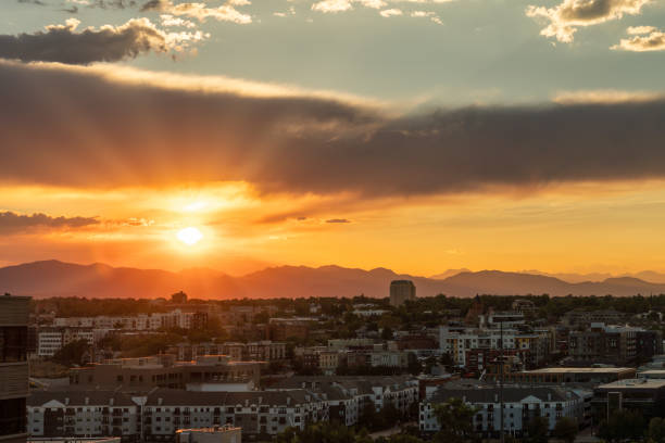Colorful sunset over Denver stock photo