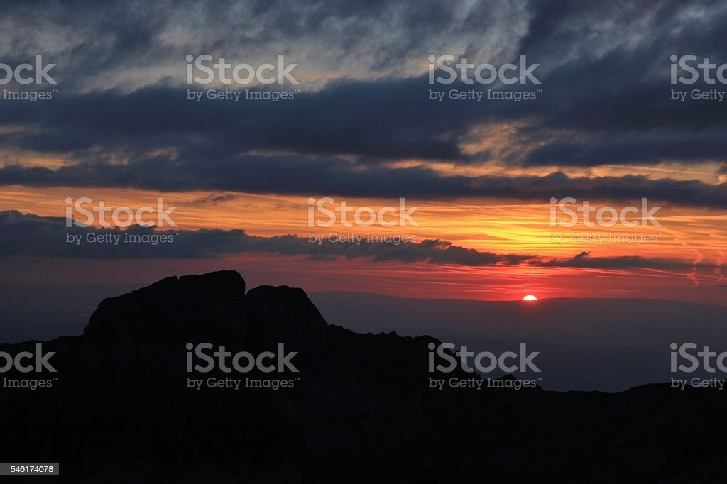 Colorful sunset over Mt Sigriswiler Rothorn stock photo