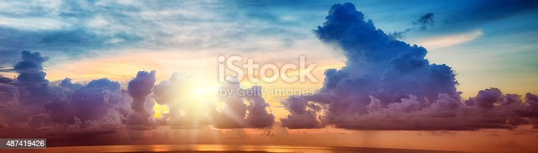istock Colorful sunset over pacific ocean with stormy sky panorama 487419426