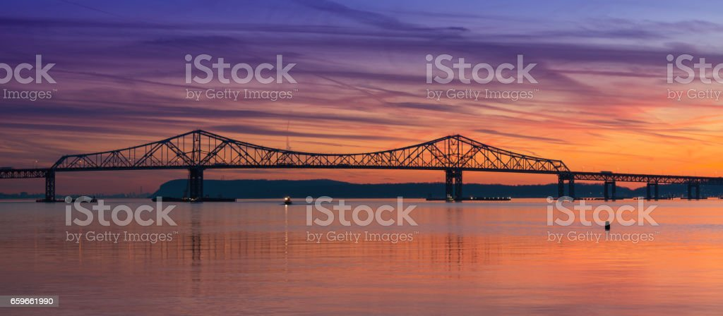Colorful sunset over Tappan Zee Bridge stock photo