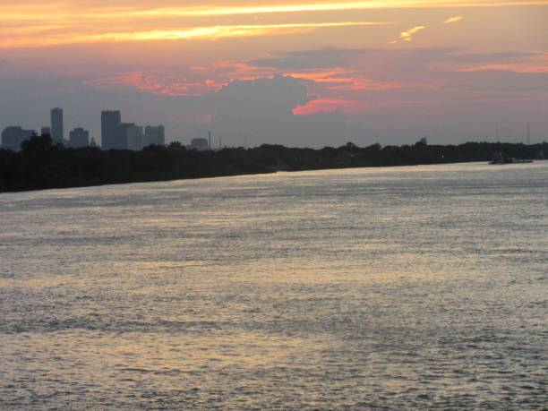 Colorful sunset over the Mississippi River stock photo