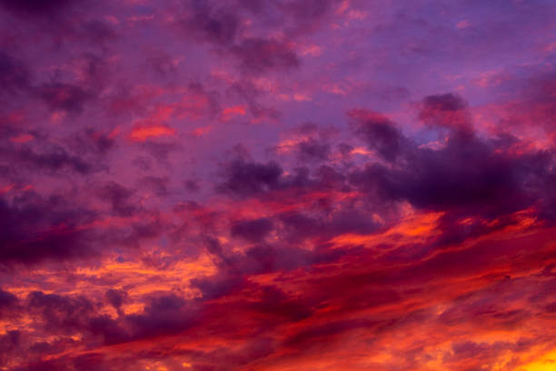 colorful sunset over the mountains - magenta stock pictures, royalty-free photos & images